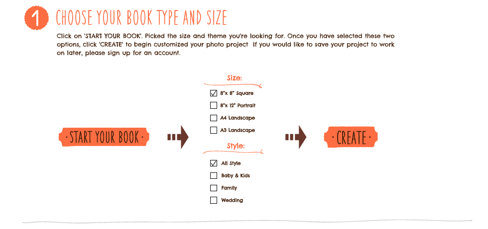 Choose your book type and size